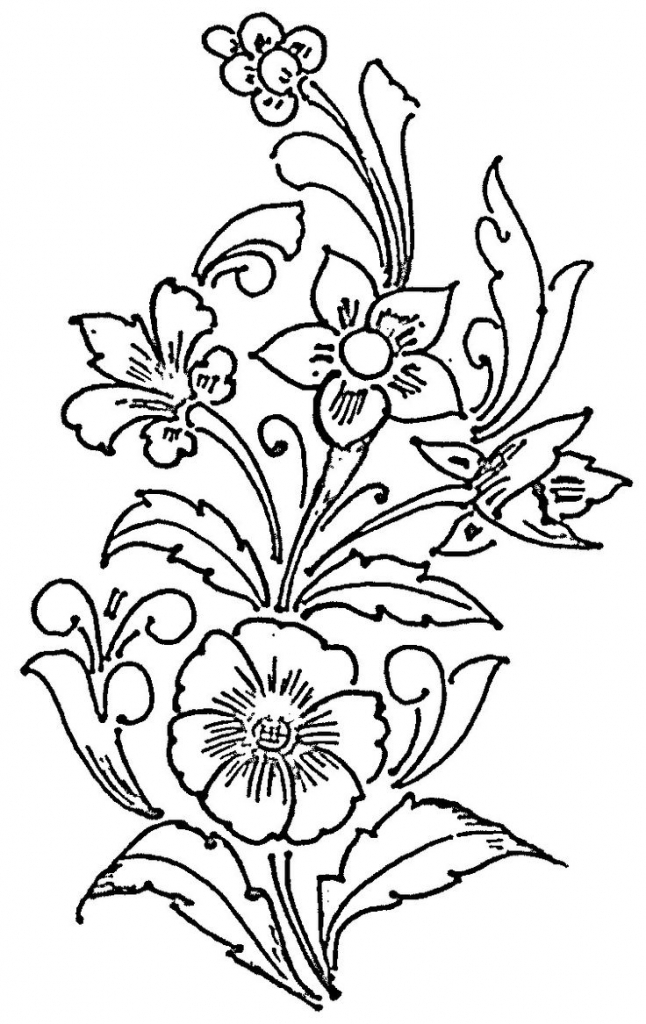 646x1024 Fabric Painted Flowers Drawing Photos Free Hand Embroidery Flowers