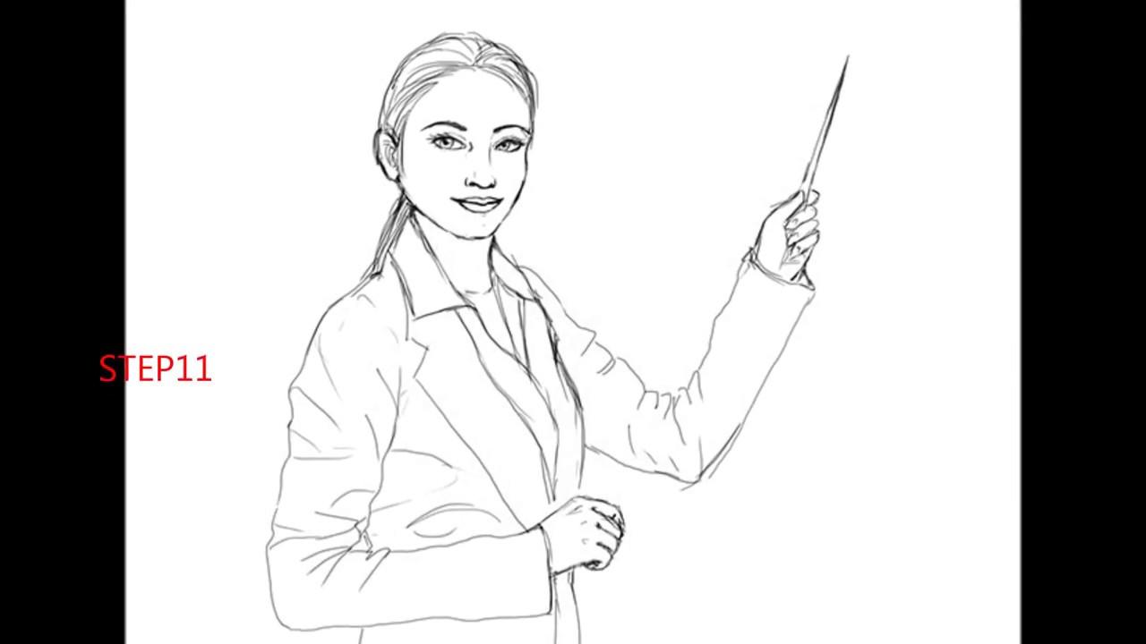 1280x720 How To Draw A Teacher