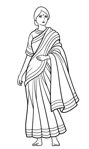 288x480 Indian Woman In Sari Coloring Page Free Printable Coloring Pages