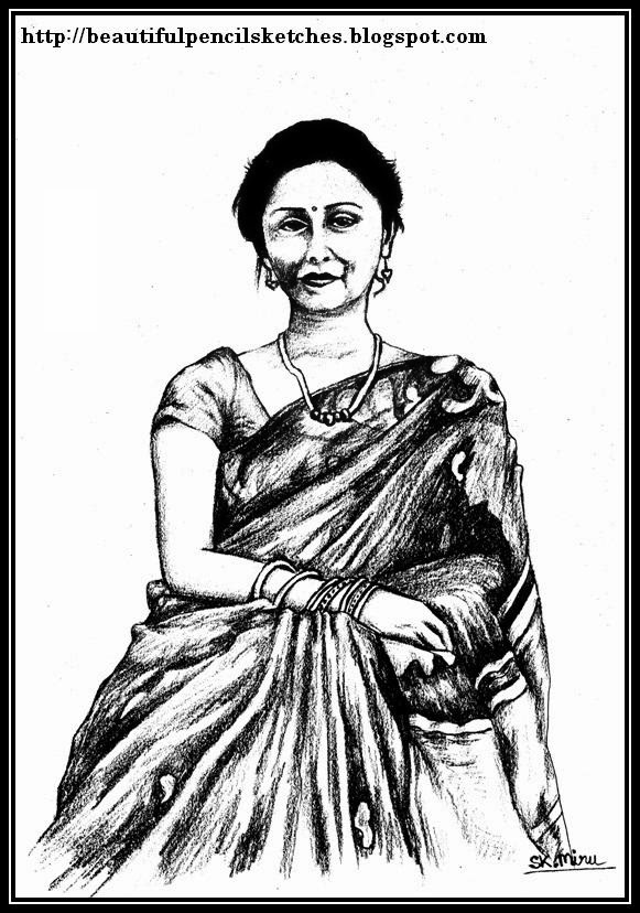 581x828 Beautiful Pencil Sketches Indian Woman In Saree Perhaps My Most