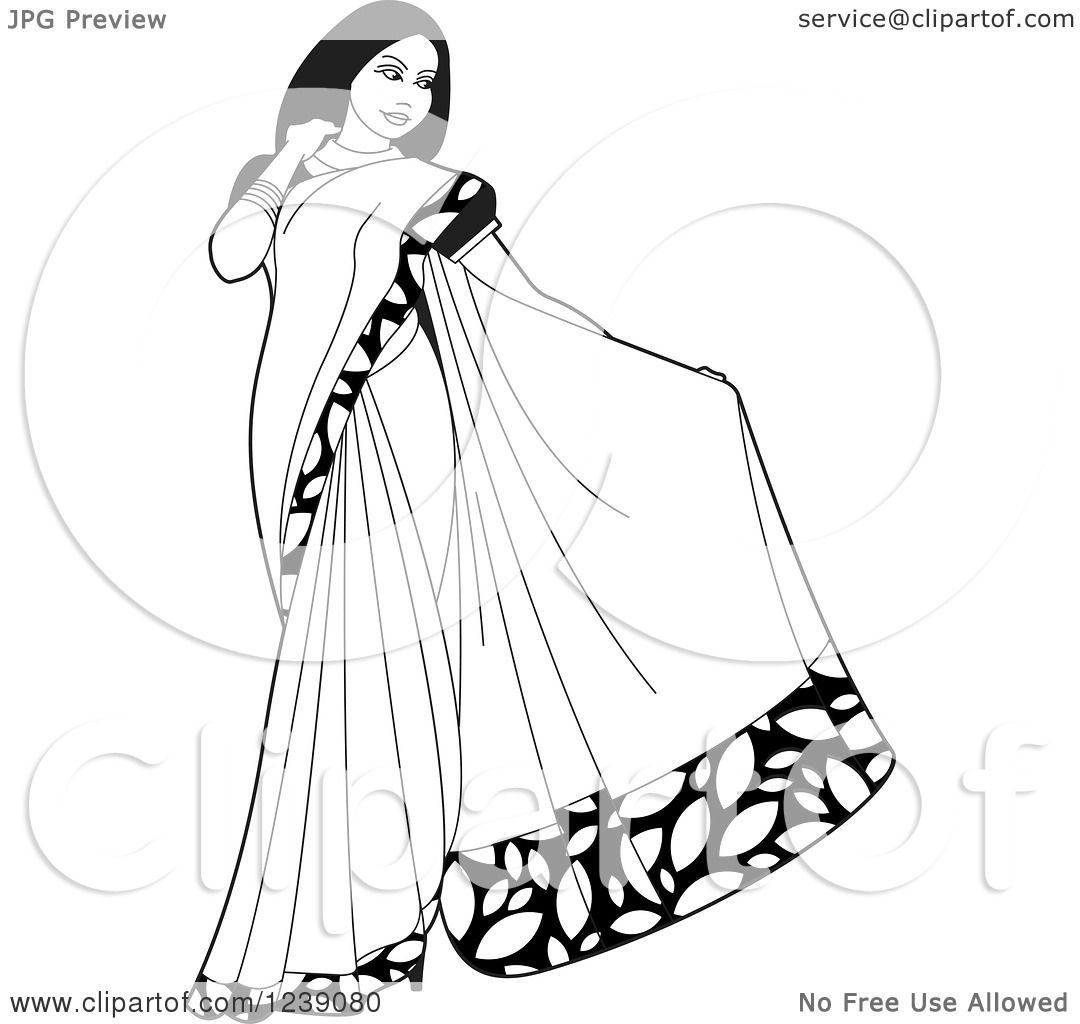 1080x1024 Clipart Of Blacknd White Beautiful Indian Woman Modeling