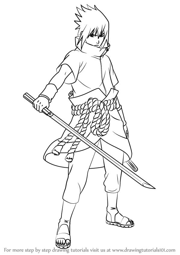 598x844 Learn How To Draw Sasuke Uchiha From Naruto (Naruto) Step By Step