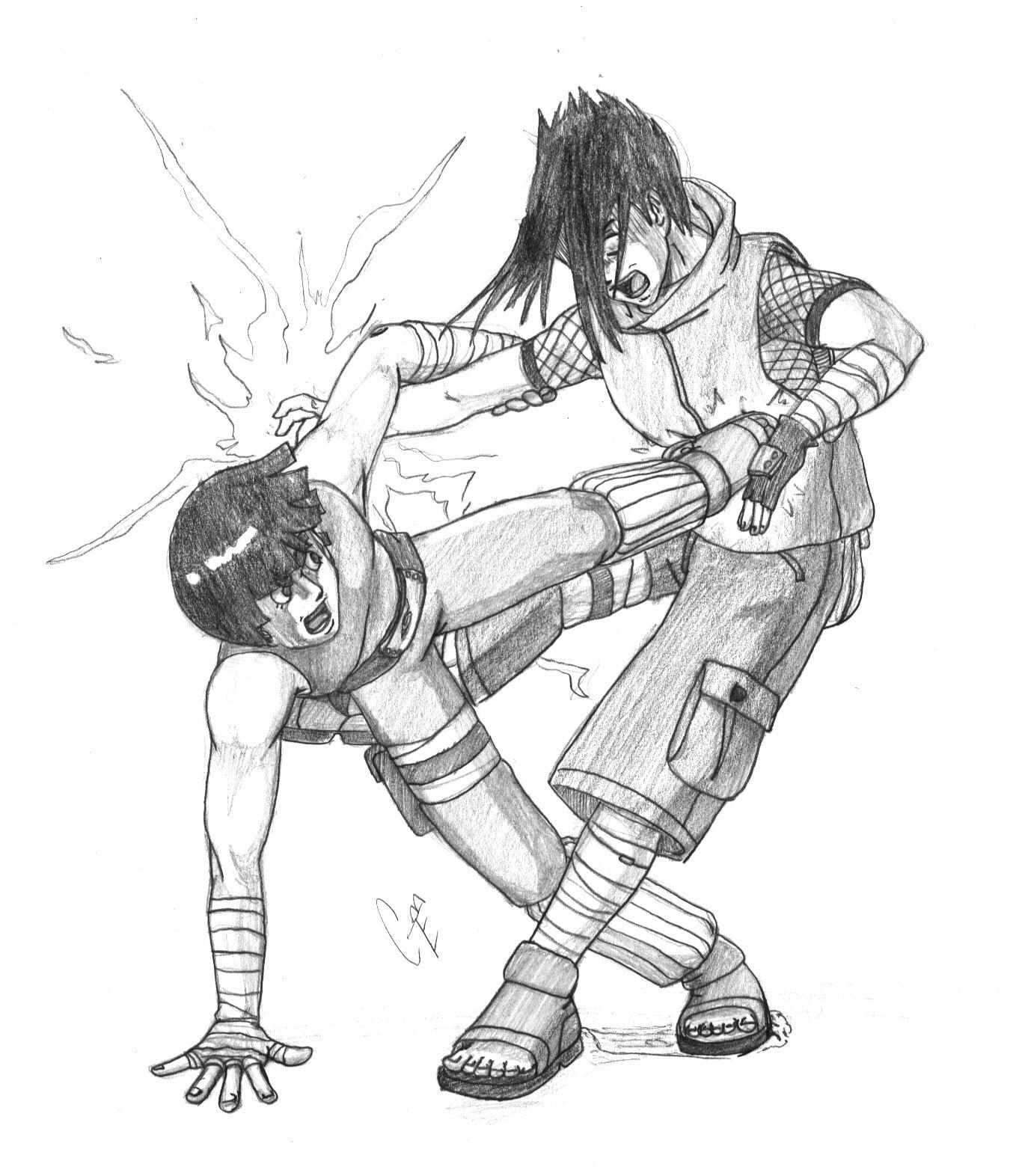1366x1572 Rock Lee Vs Sasuke By Bishi