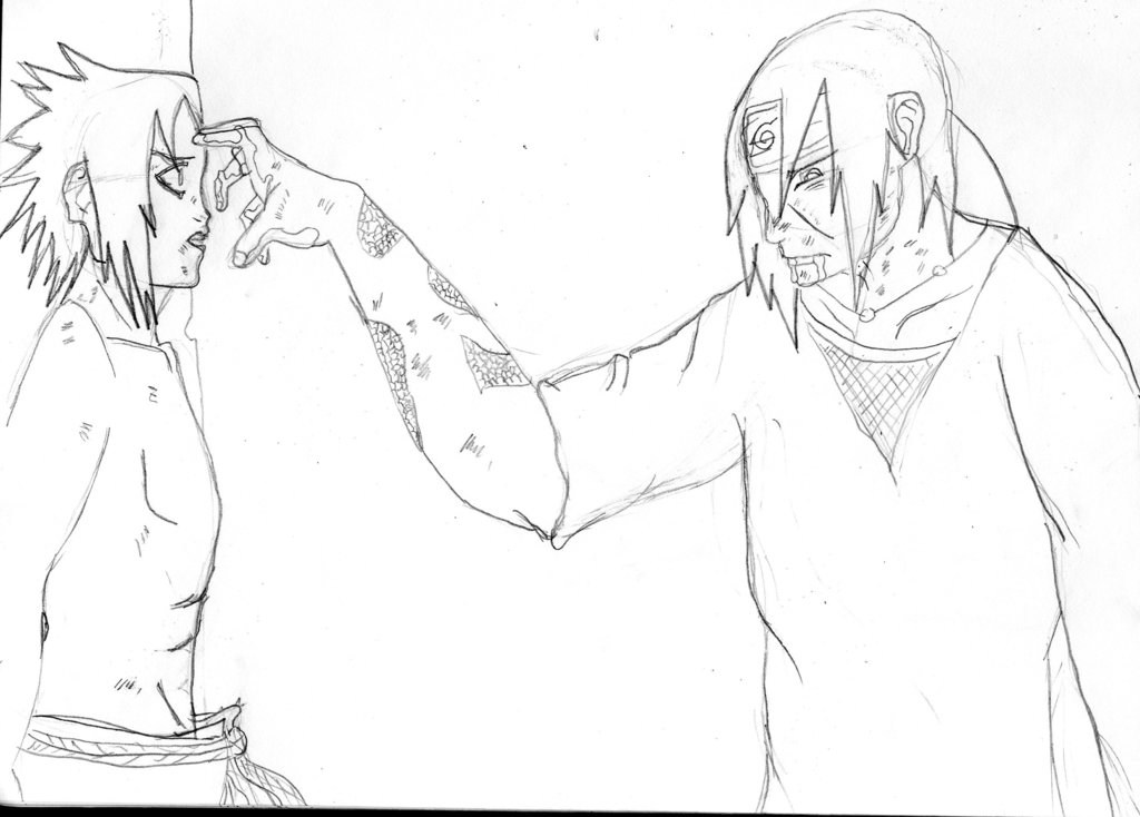 1024x734 Sasuke And Itachi's Last Moment Sketch By Tigernose123