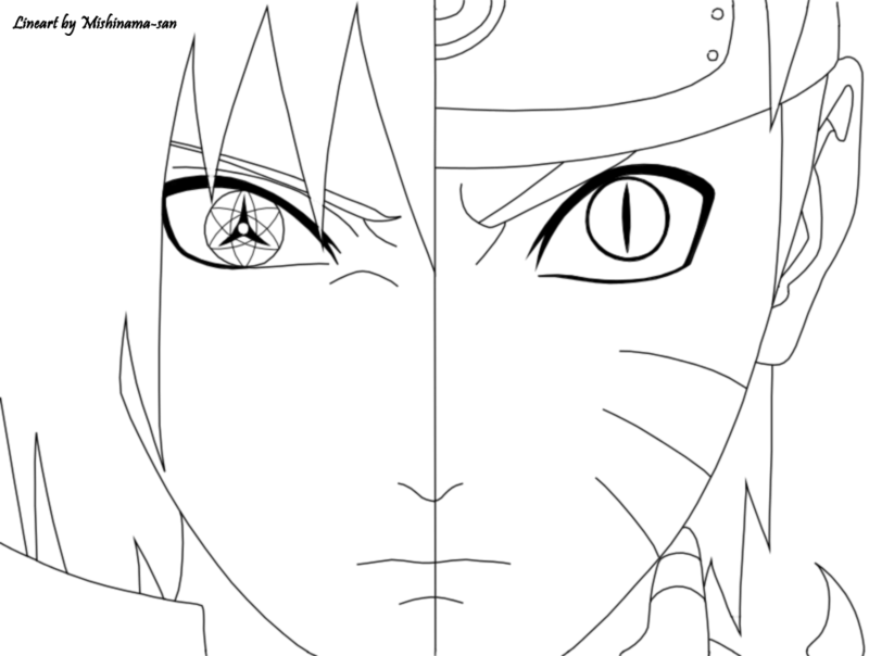 800x604 Naruto And Sasuke Lineart By Mishinama San