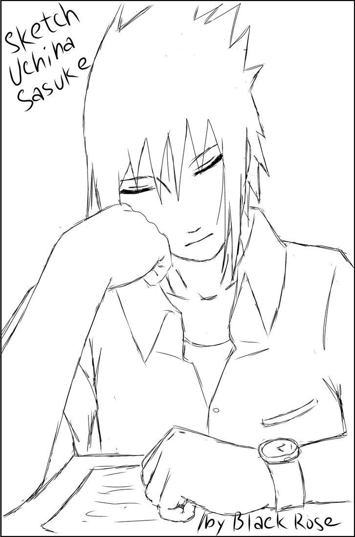 726x1100 Sketch Uchiha Sasuke By Byblackrose