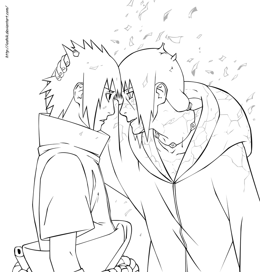 859x900 Uchiha Sasuke And Itachi By Ioshiklineart