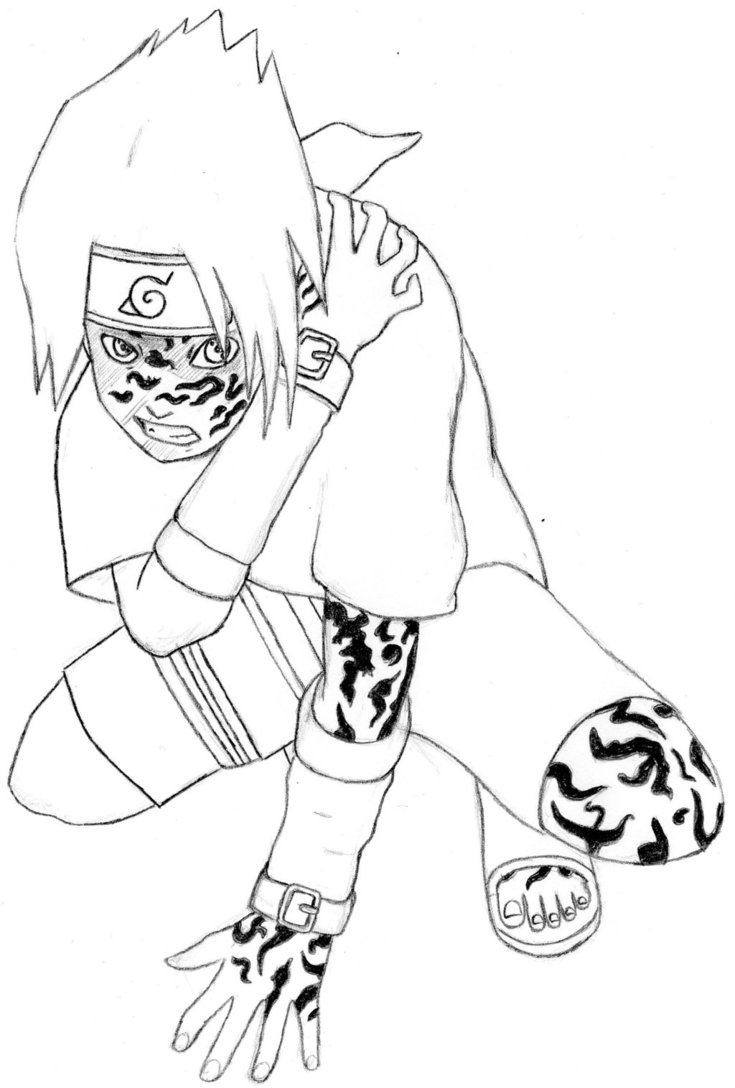 735x1088 Kid Sasuke Uchiha Curse Mark By Infjart