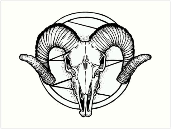 549x413 Satan Goat Skull Dotwork Art Prints By 0xdeaddead Redbubble
