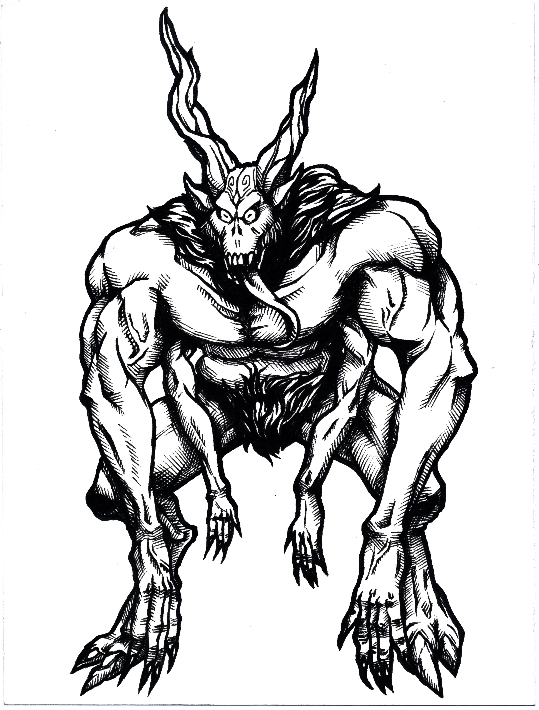 3662x4830 Satanic Creature (Inktober) By Ndzhang