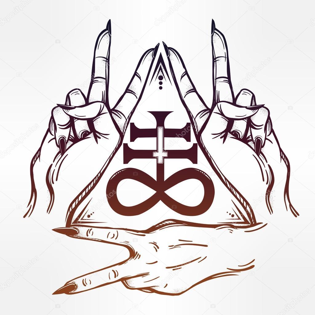 1024x1024 V Sign Hand. Flash Tattoo Hands And Satanic Cross Stock Vector
