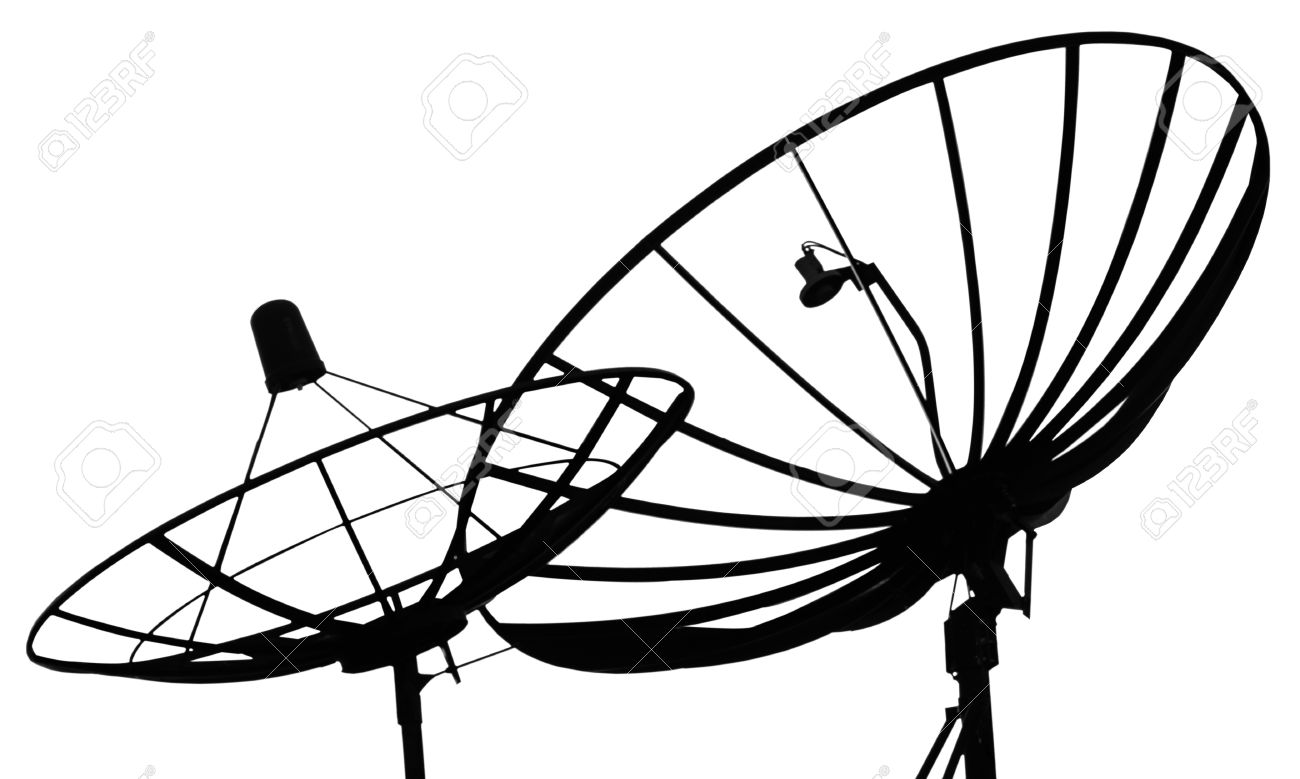 1300x779 Satellite Dish On A White Background Stock Photo, Picture