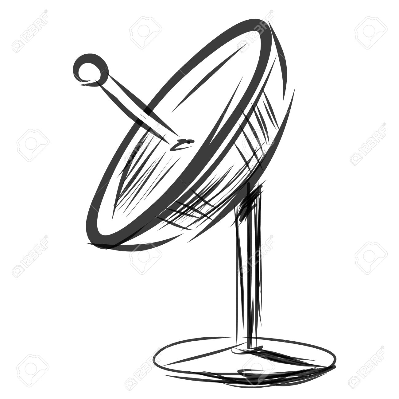 1300x1300 Satellite Dish. Sketch Vector Illustration Royalty Free Cliparts