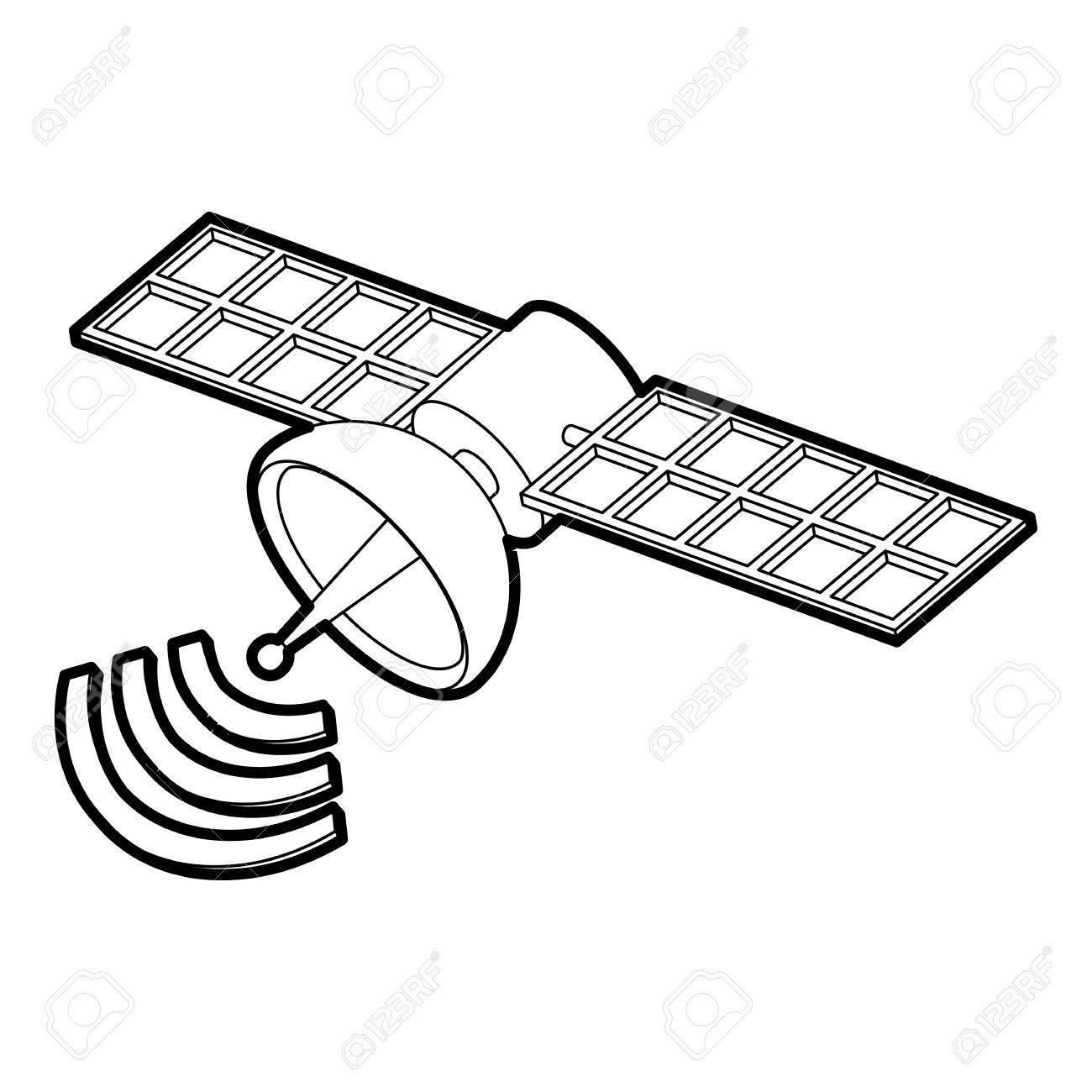 1300x1300 Space Satellite Icon. Outline Illustration Of Space Satellite