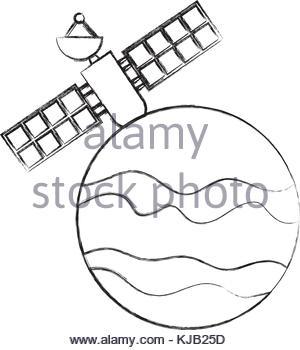 300x350 Artificial Satellite On Planet Stock Vector Art Amp Illustration