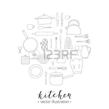 450x450 Hand Drawn Kitchen Items Isolated On White Background. Teapot