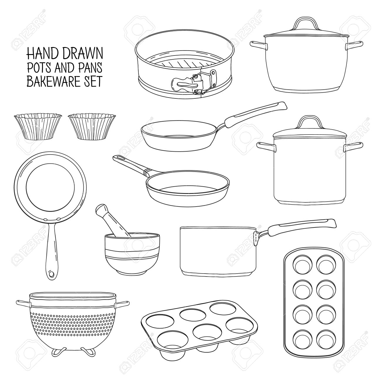 1300x1300 Kitchen Utensils For Baking. A Set Of Dishes For Baking Frying