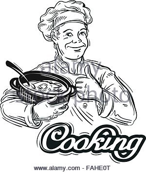 300x356 Hand Drawn Chef With A Pot In His Hand. Vector Illustration Stock