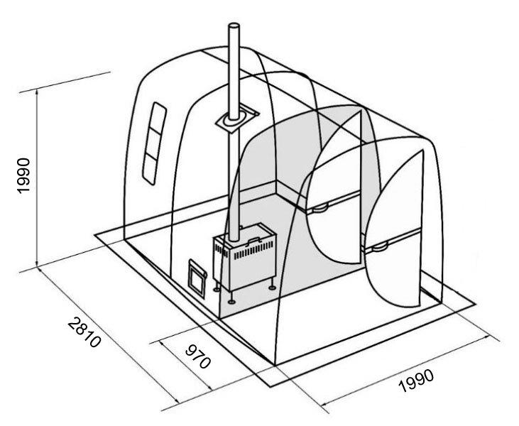 731x600 Mb 103 Tent Sauna Wchangeroom (4 Pers.) Sauna Anywhere