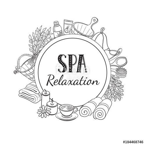 500x500 Spa Relaxation Poster. Sauna Accessories Sketches In Circle Shape