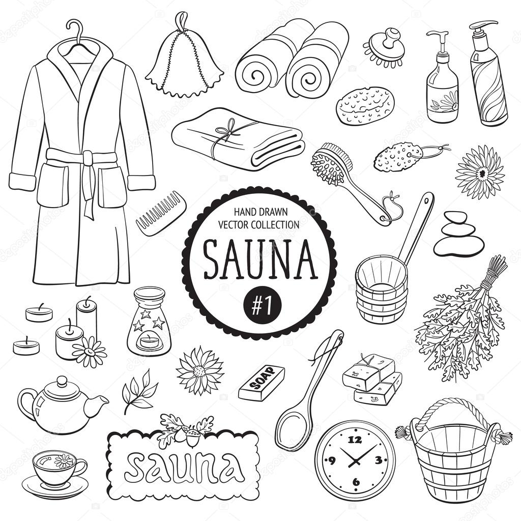 1024x1024 Sauna And Spa Objects Stock Vector Ollymolly