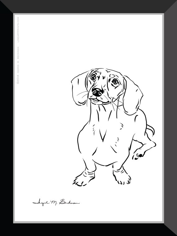 570x760 Dachshund Print. Dog Wall Art 5x7 Room Decor. Black And White Pen