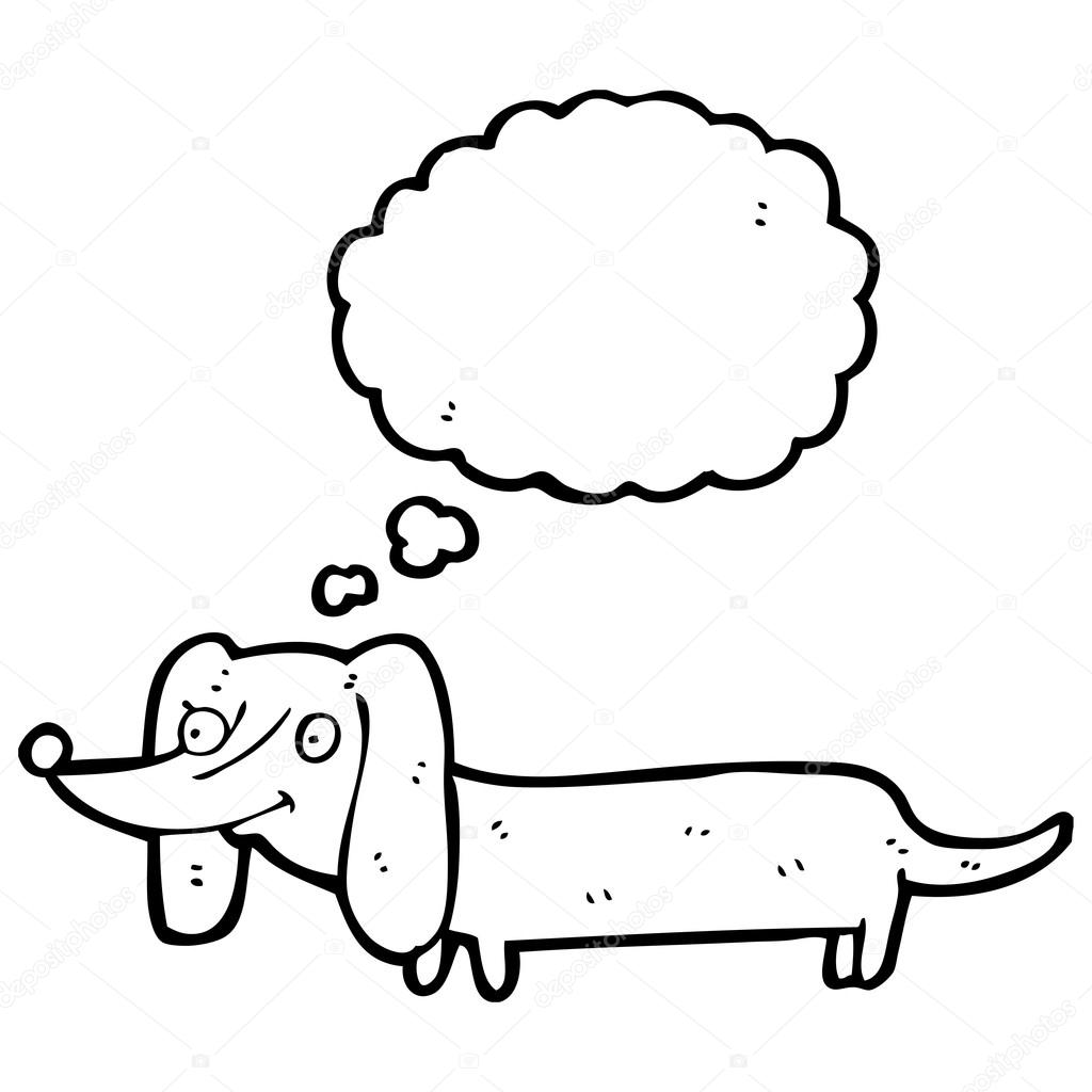 1024x1024 Sausage Dog With Thought Bubble Stock Vector Lineartestpilot