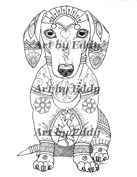 465x602 Art Of Dachshund Single Coloring Page Dachshunds, Hand Drawn And Pdf