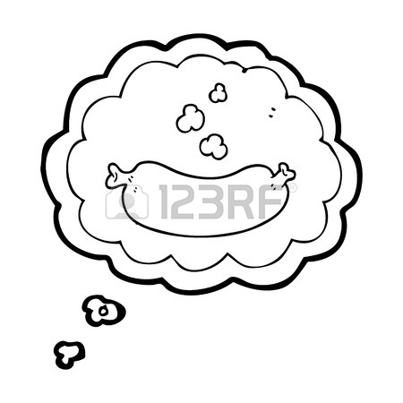 450x450 Freehand Drawn Thought Bubble Cartoon Hot Sausage Royalty Free
