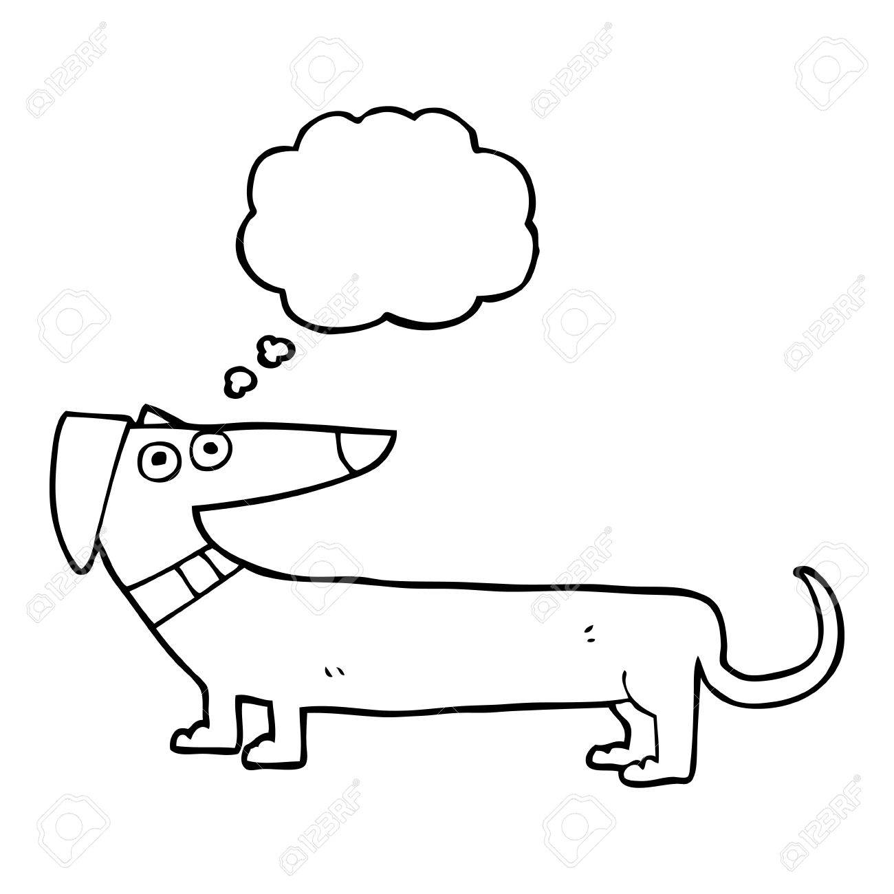 1300x1300 Freehand Drawn Thought Bubble Cartoon Sausage Dog Royalty Free