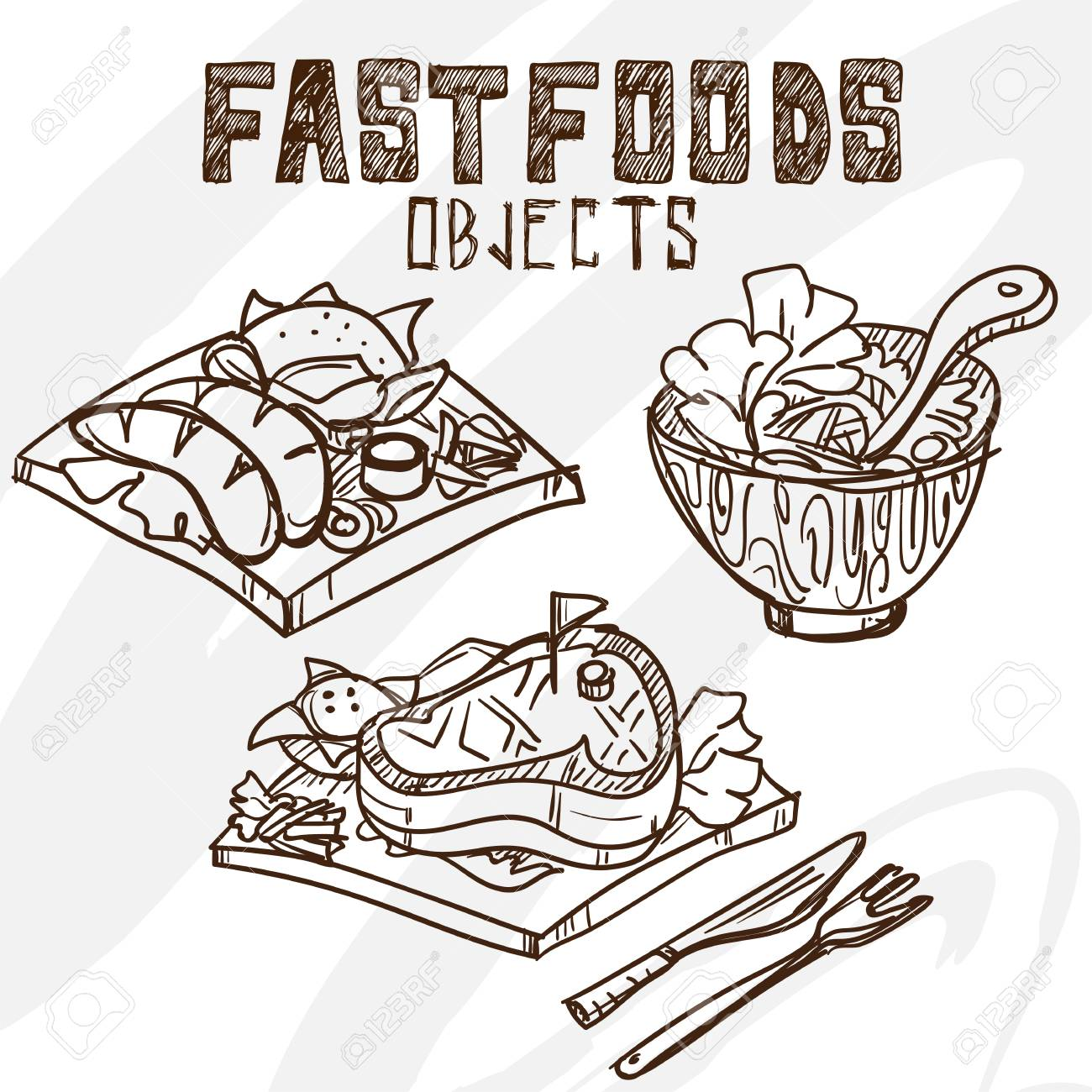 1300x1300 Sausage Salad Steak Drawing Graphic Royalty Free Cliparts, Vectors
