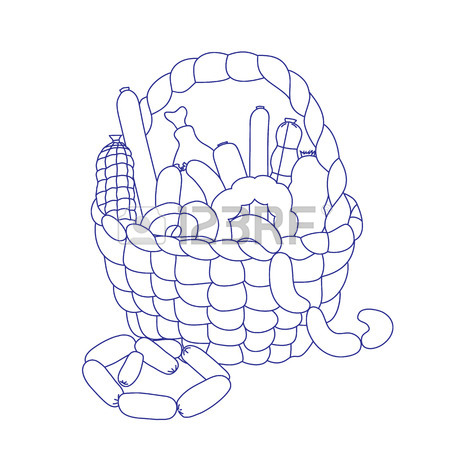 450x450 Basket With Sausage On A White Background. The Handwritten Sketch