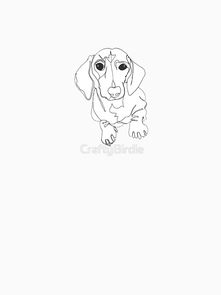 750x1000 Tilly' Sausage Dog, Miniature Dachshund, Continuous Line Drawing