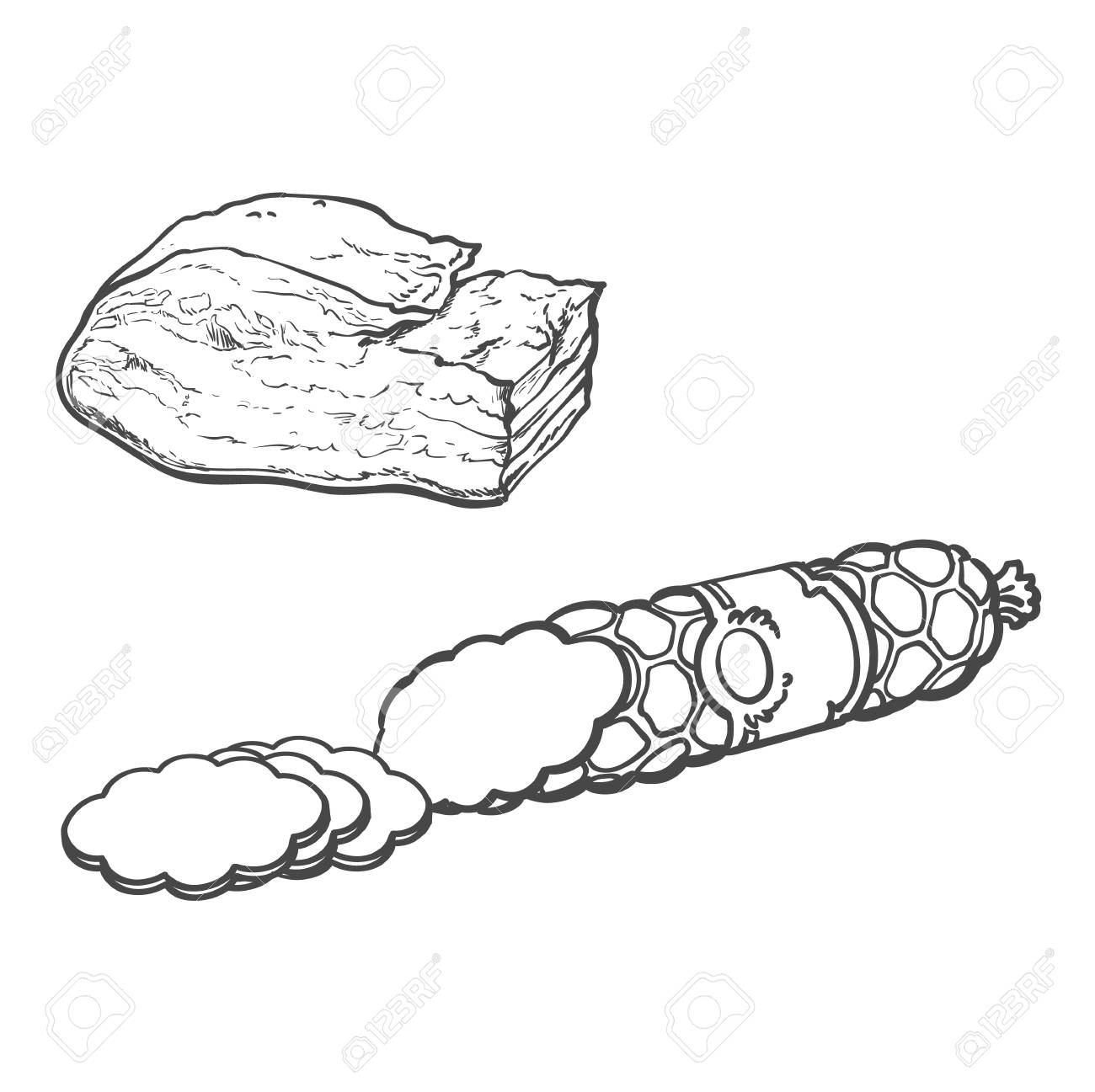 1300x1297 Vector Sketch Salami Sausage With Slices And Pork Lard. Cartoon