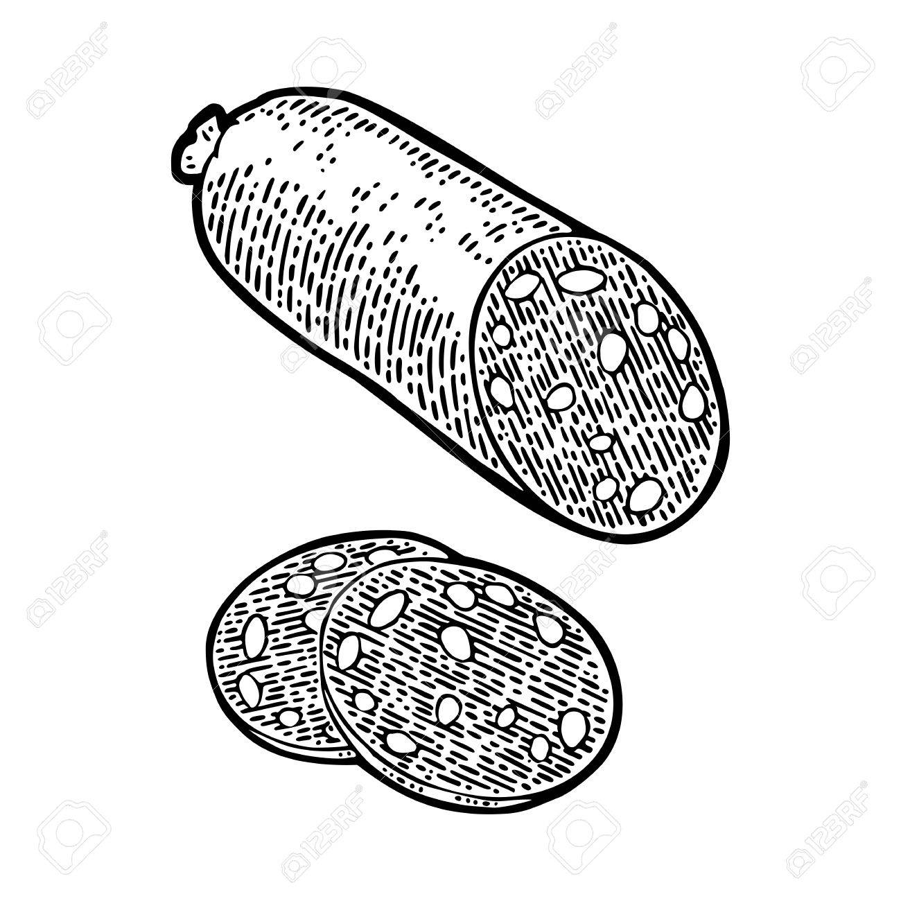 1300x1300 Whole And Slices Smoked Sausage Salami. Vintage Vector Engraving