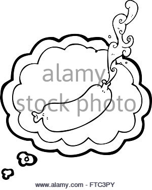 300x375 Freehand Drawn Cartoon Squirting Sausage Stock Vector Art