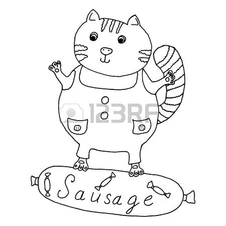 450x450 Cat Hand Drawn On Sausage Vector Illustration Royalty Free
