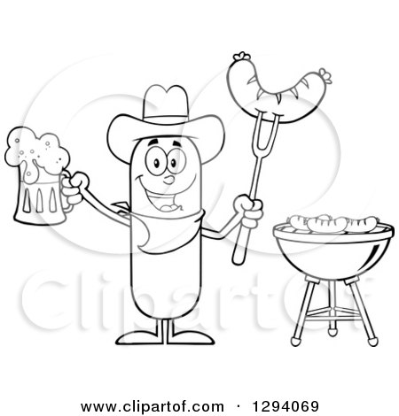 450x470 Clipart Of A Cartoon Black And White Happy Sausage Cowboy