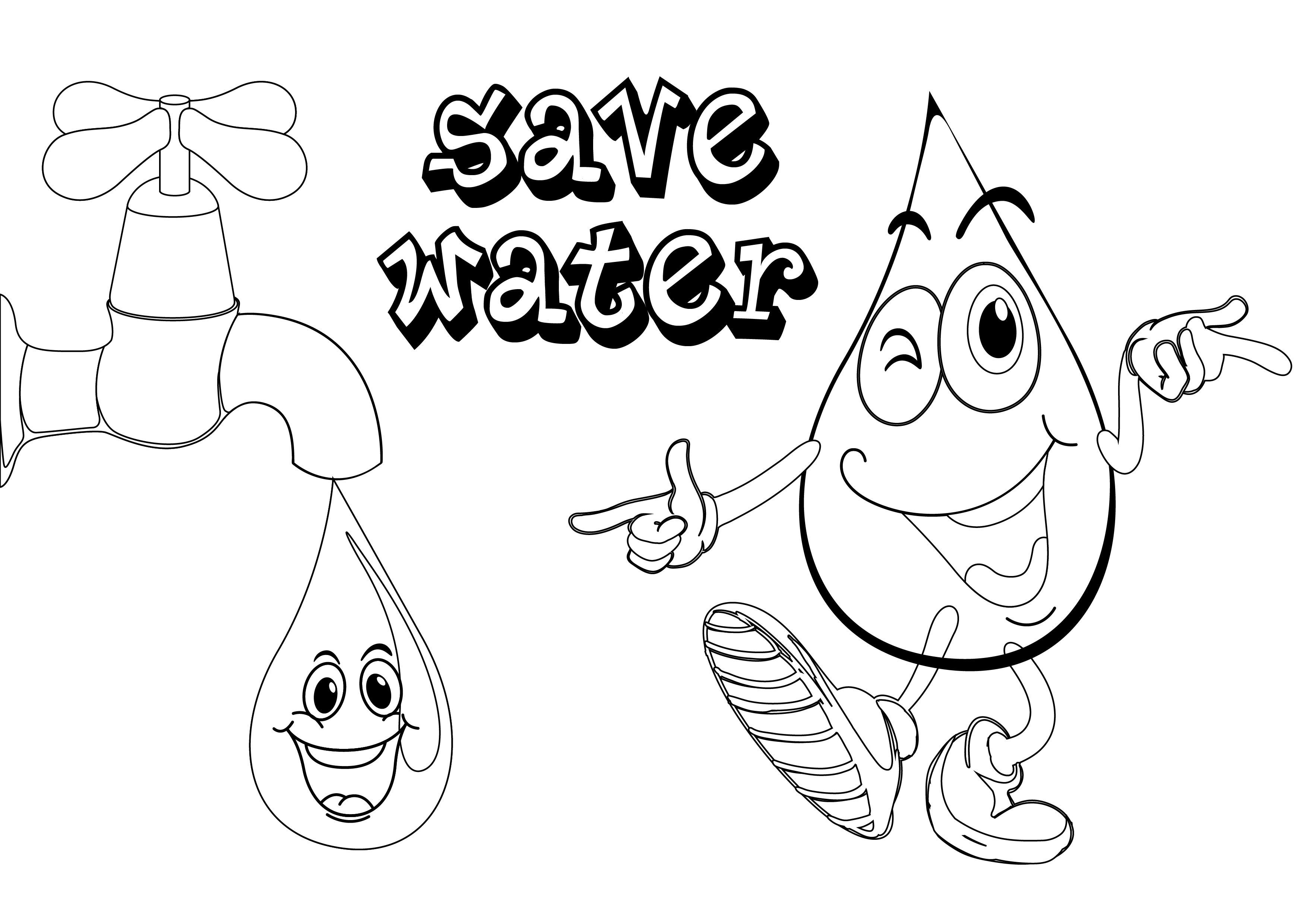 3508x2480 Save Water Colouring Pictures Coloring Page For Kids