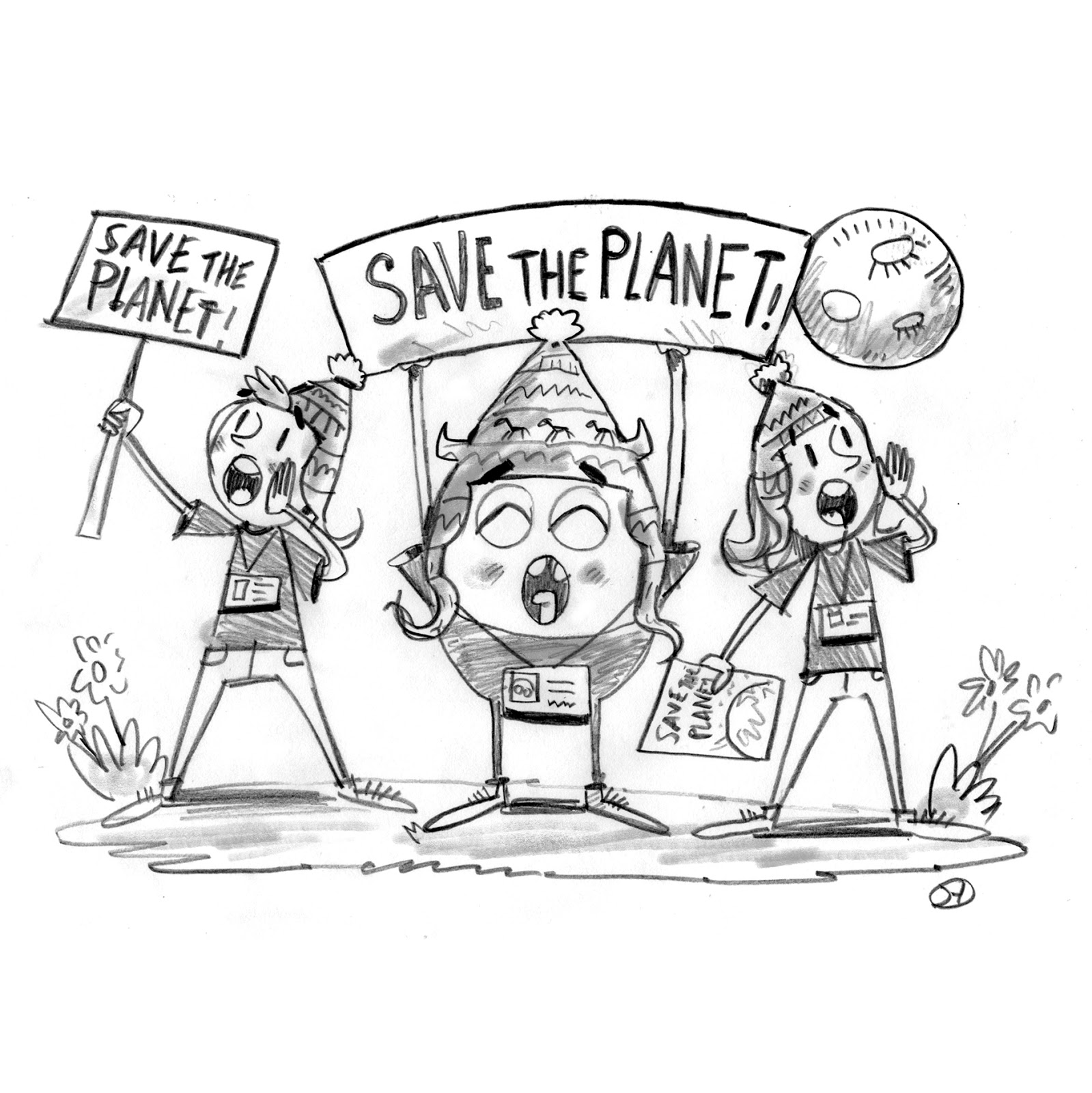 1599x1600 David Hurtado Illustration Blog Save The Planet Pencil Sketch