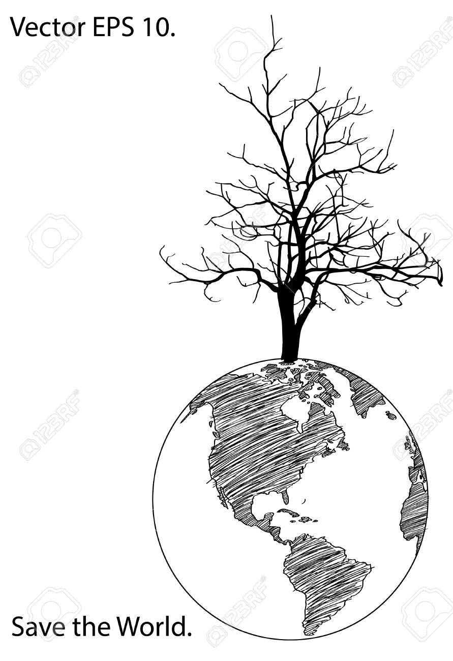 891x1300 Dead Tree Stand Alone On Earth Globe For Save The World Concept