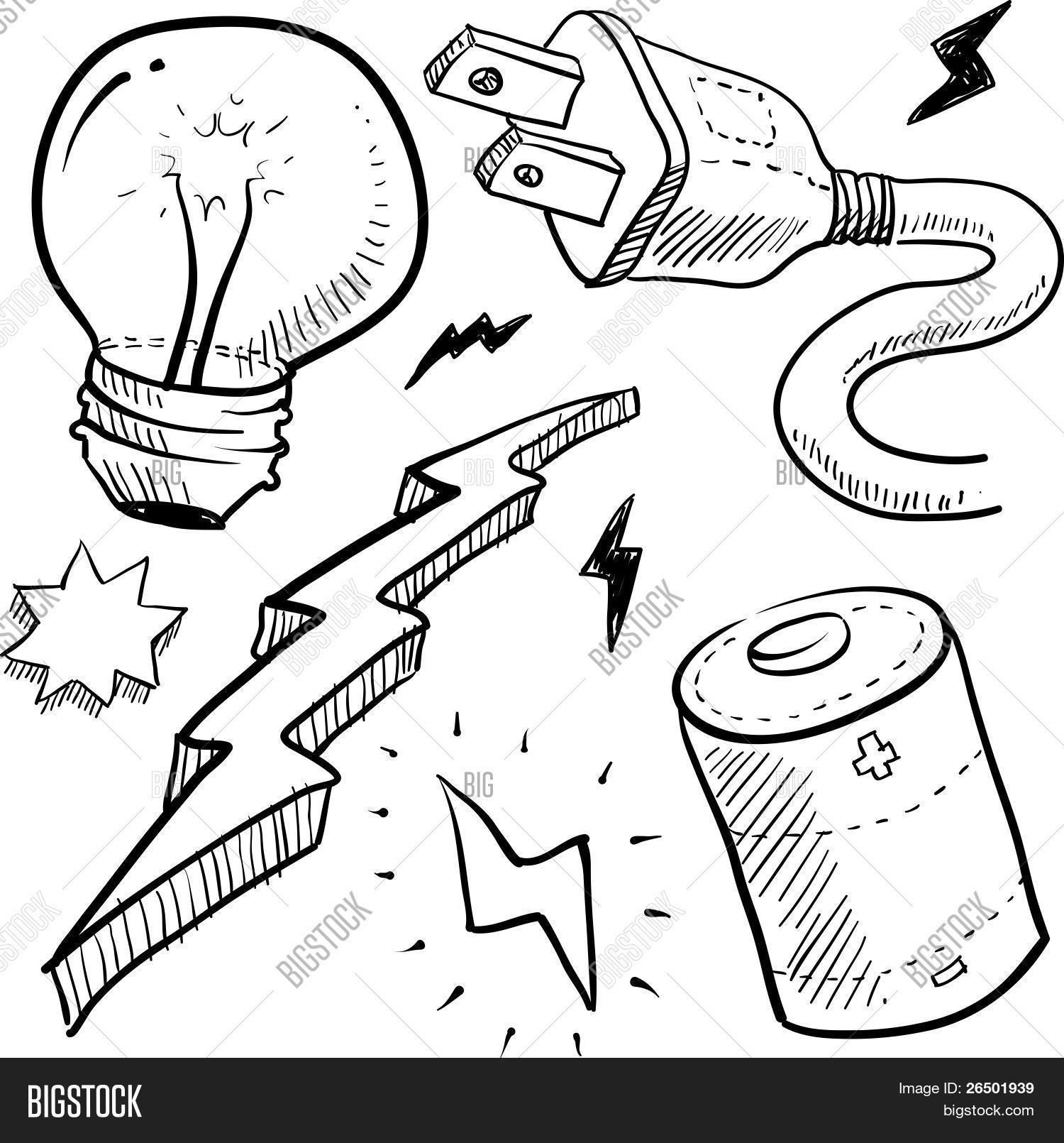 1500x1610 Electricity Objects Sketch Vector Amp Photo Bigstock