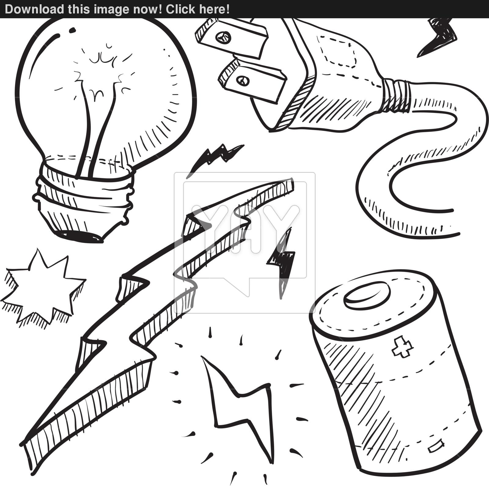 1600x1592 Electricity Objects Sketch Vector