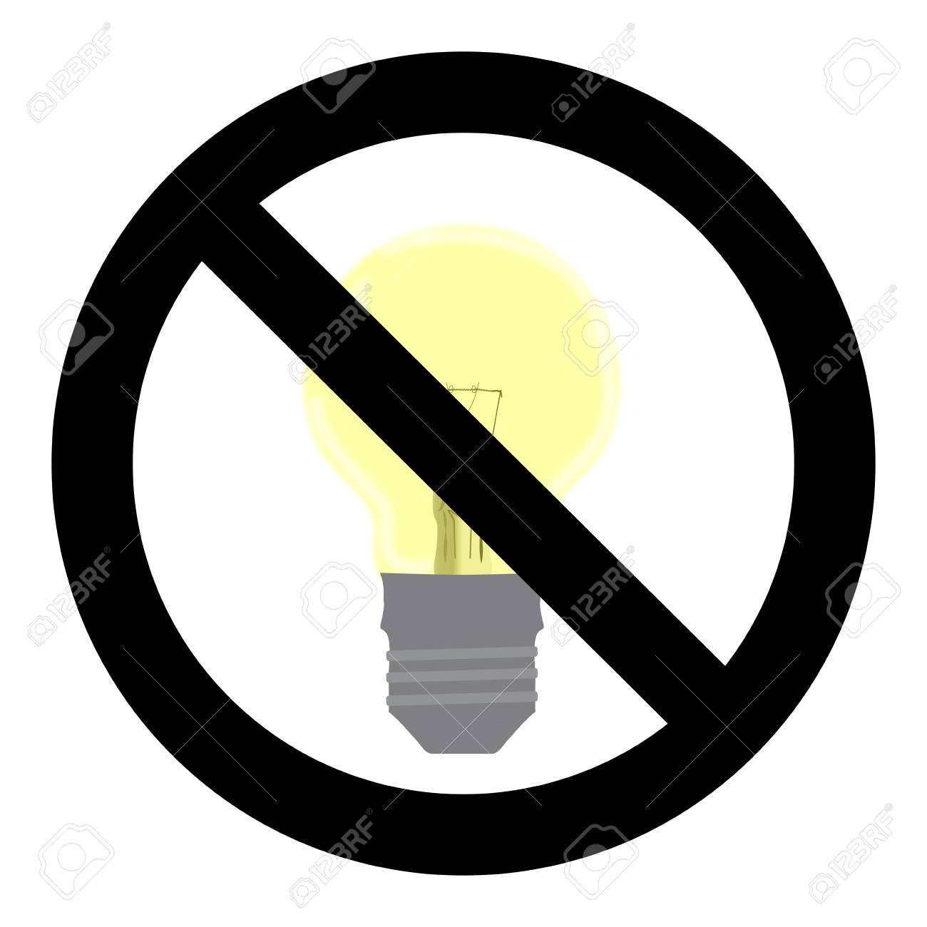 1300x1300 No Light Symbol. Do Not Turn On Sign. Control Electricity