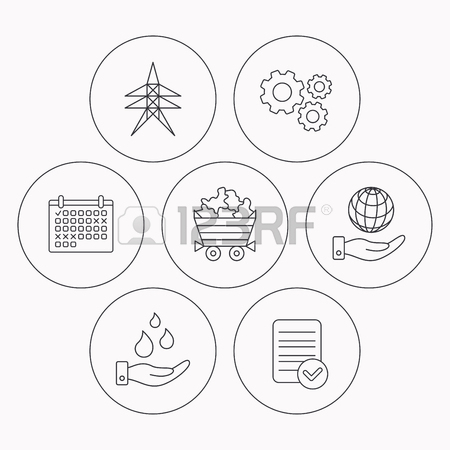 450x450 Save Water, Planet And Electricity Station Icons. Minerals Linear