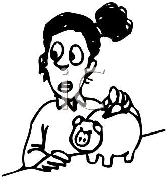 329x350 Girl Saving Money By Putting Coins In Piggy Bank Clip Art