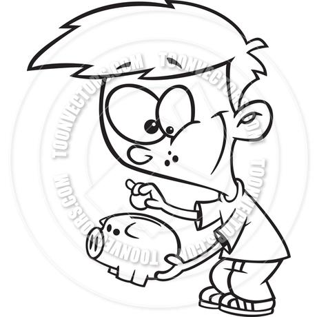 460x460 Cartoon Boy Saving Money In Piggy Bank (Black Amp White Line Art) By