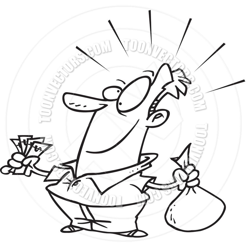 940x940 Cartoon Man Saving Money (Black And White Line Art) By Ron