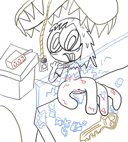 450x500 Saw Trap Drawing Unfinished By Mroah