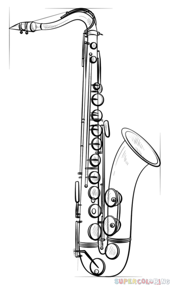 343x575 How To Draw Saxophone Step By Step Drawing Tutorials